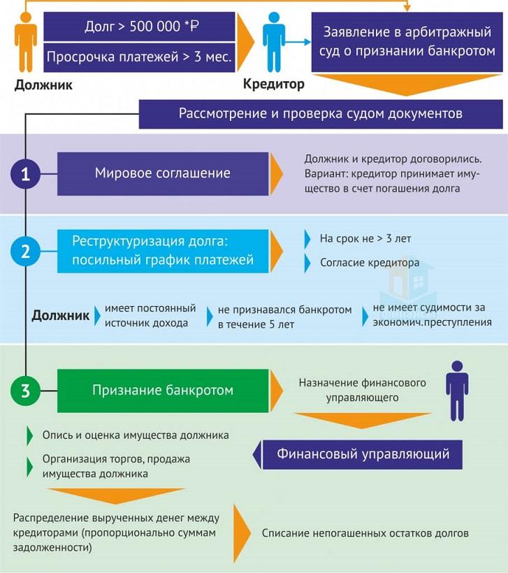 Инфографика: как выглядит процедура банкротства либо реструктуризации долга физических лиц
